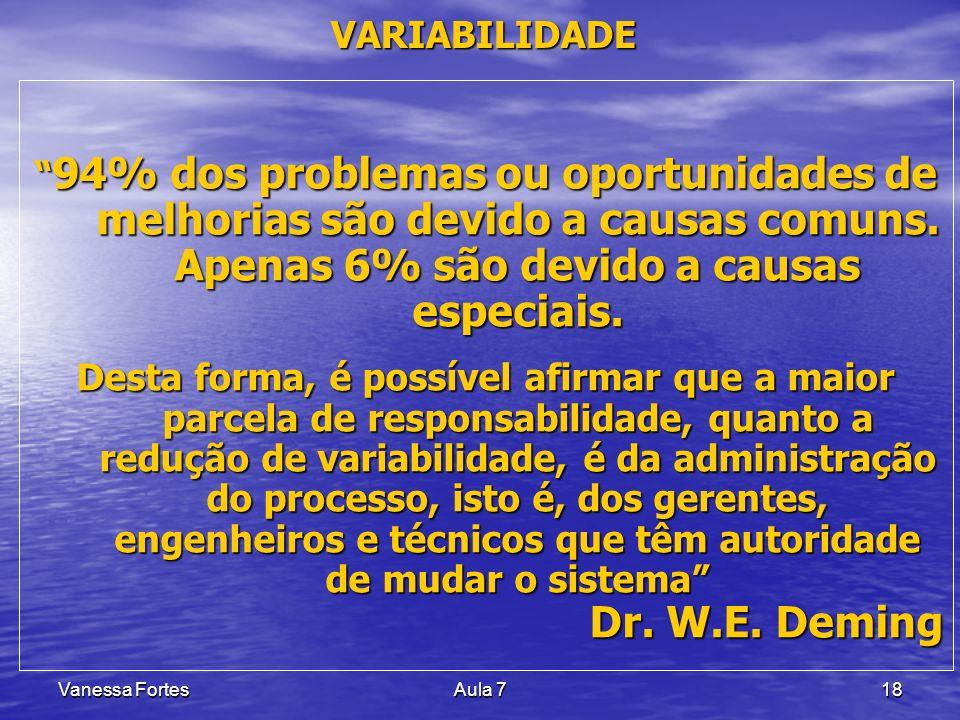 Vanessa FortesAula 718 VARIABILIDADE 94% dos problemas ou oportunidades de melhorias são devido a causas comuns. Apenas 6% são devido a causas especia