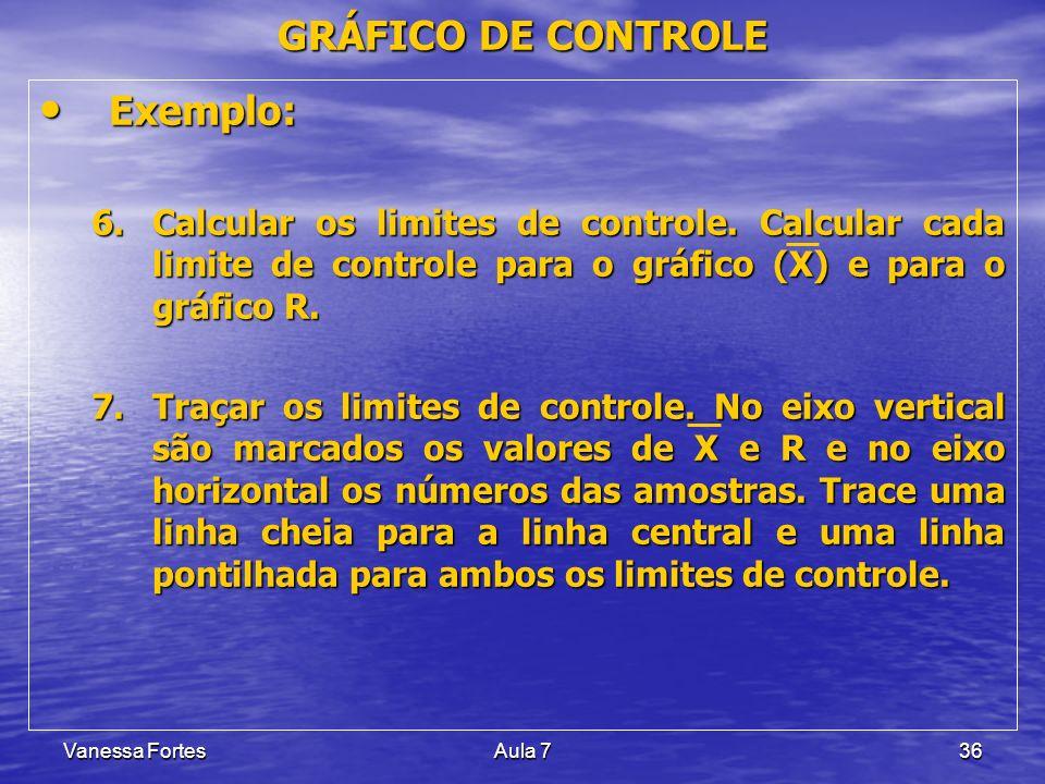 Vanessa FortesAula 736 Exemplo: Exemplo: 6.Calcular os limites de controle. Calcular cada limite de controle para o gráfico (X) e para o gráfico R. 7.
