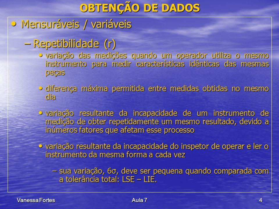 Vanessa FortesAula 74 OBTENÇÃO DE DADOS Mensuráveis / variáveis Mensuráveis / variáveis –Repetibilidade (r) variação das medições quando um operador u