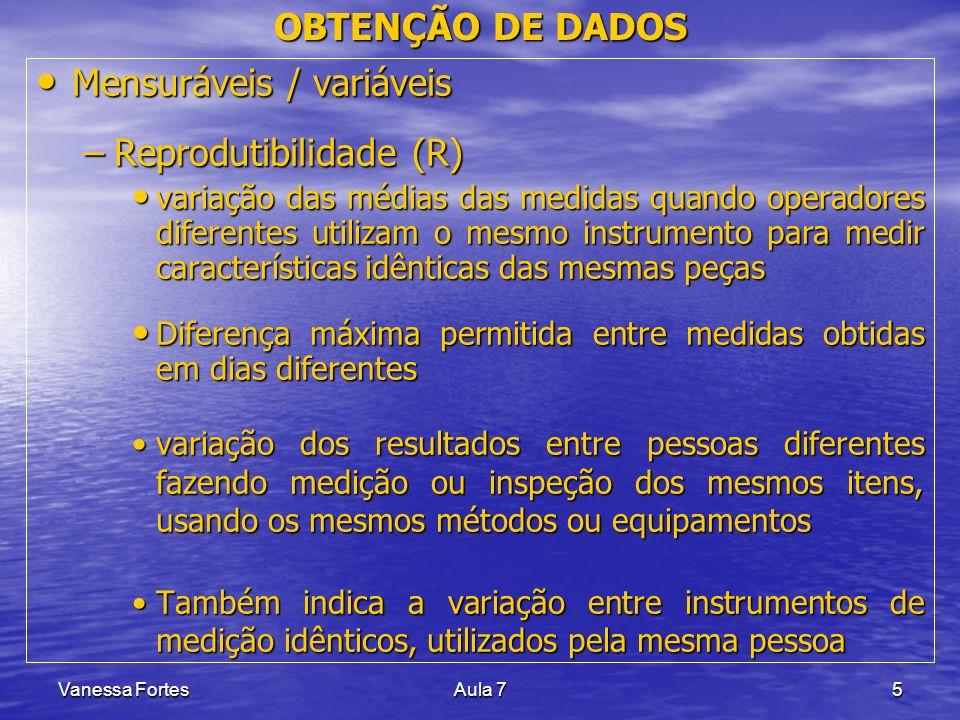 Vanessa FortesAula 75 OBTENÇÃO DE DADOS Mensuráveis / variáveis Mensuráveis / variáveis –Reprodutibilidade (R) variação das médias das medidas quando
