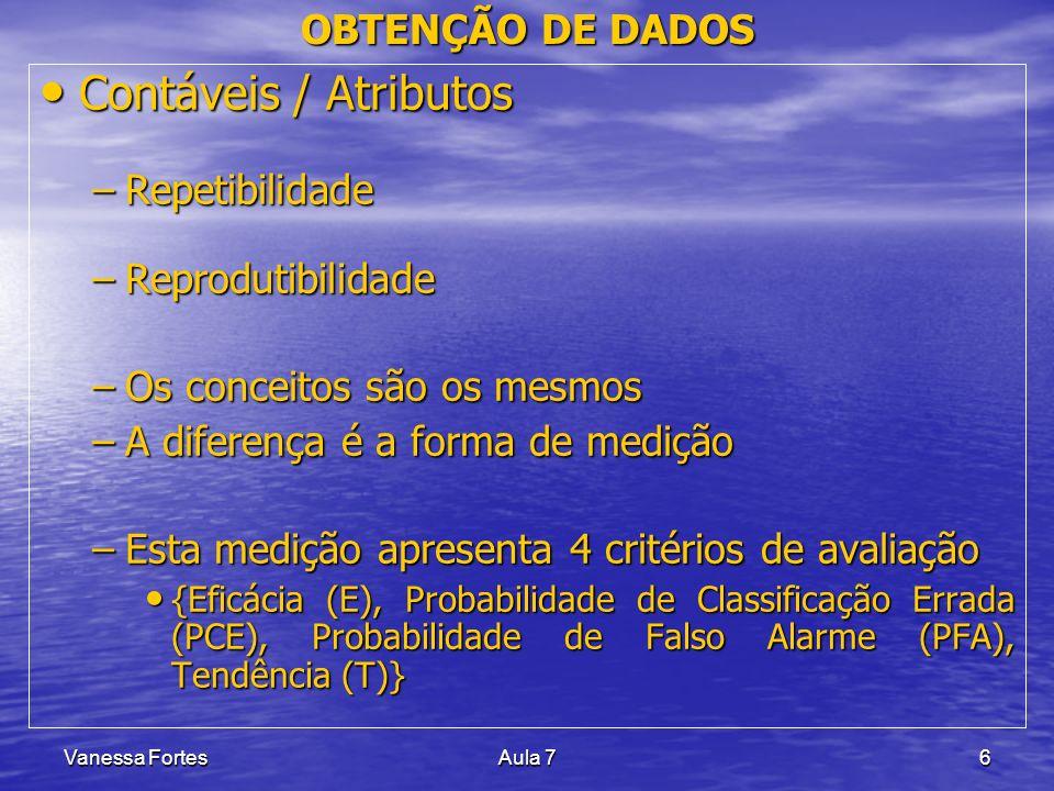Vanessa FortesAula 76 OBTENÇÃO DE DADOS Contáveis / Atributos Contáveis / Atributos –Repetibilidade –Reprodutibilidade –Os conceitos são os mesmos –A