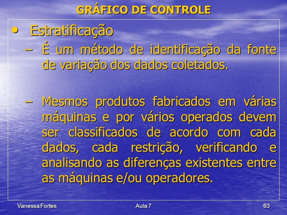 Vanessa FortesAula 763 Estratificação Estratificação –É um método de identificação da fonte de variação dos dados coletados. –Mesmos produtos fabricad