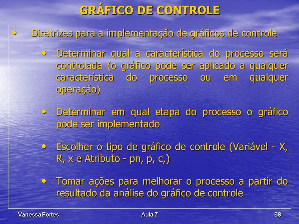 Vanessa FortesAula 768 Diretrizes para a implementação de gráficos de controle Diretrizes para a implementação de gráficos de controle Determinar qual