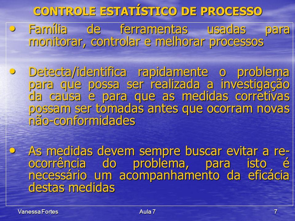 Vanessa FortesAula 77 Família de ferramentas usadas para monitorar, controlar e melhorar processos Família de ferramentas usadas para monitorar, contr