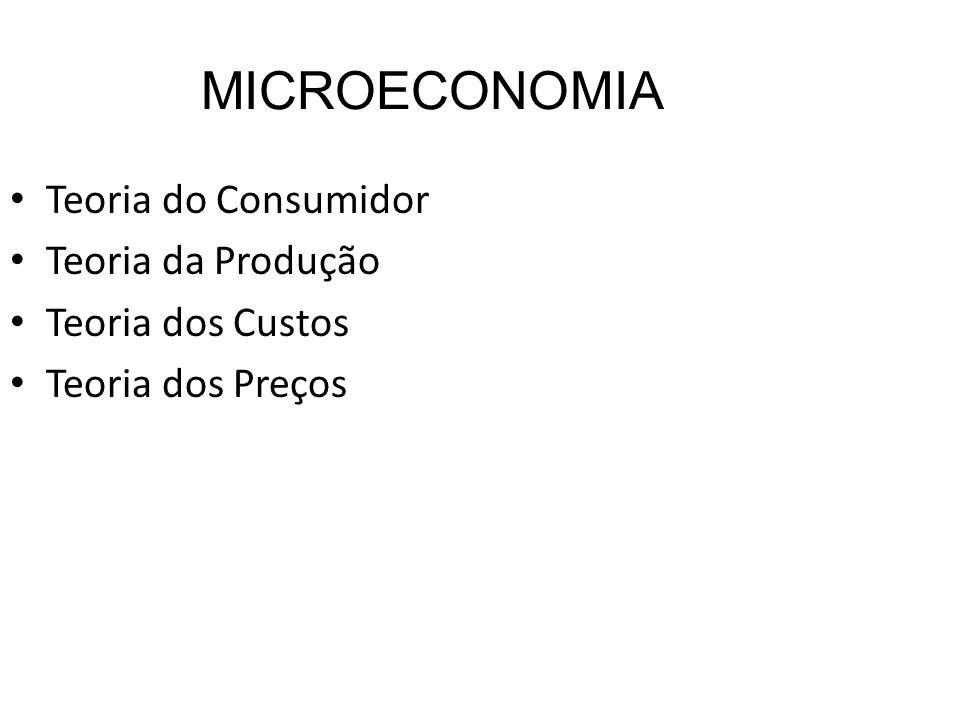 MICROECONOMIA Teoria do Consumidor Teoria da Produção Teoria dos Custos Teoria dos Preços