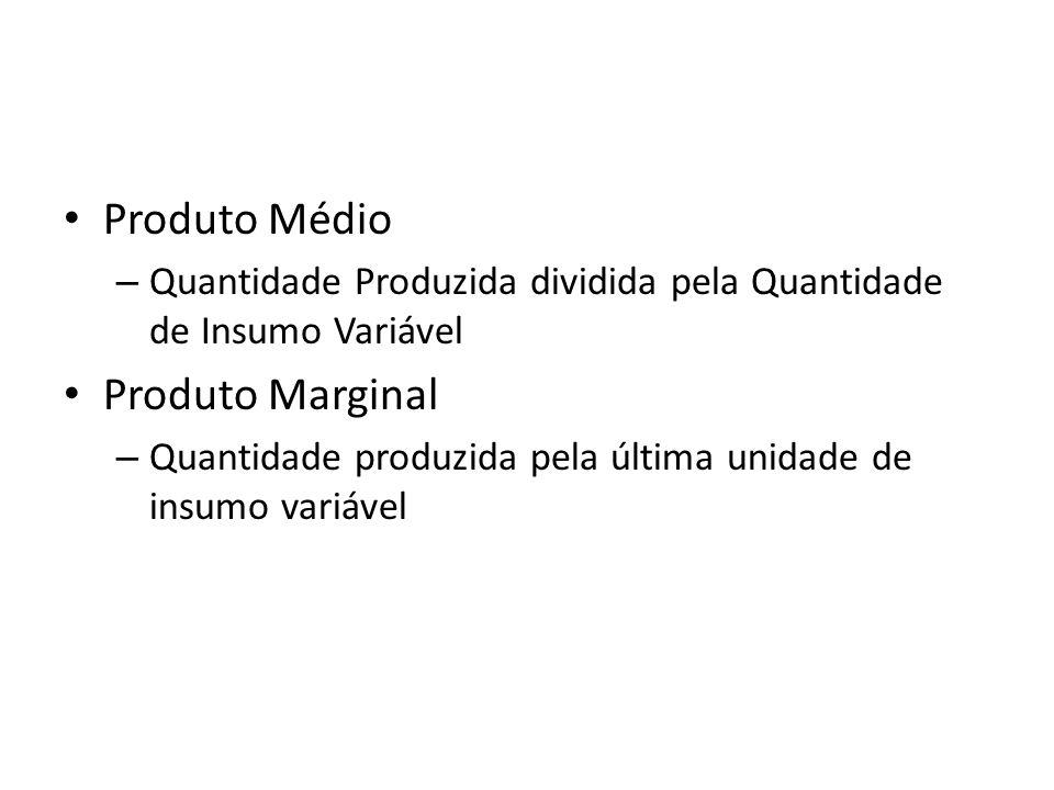Produto Médio – Quantidade Produzida dividida pela Quantidade de Insumo Variável Produto Marginal – Quantidade produzida pela última unidade de insumo