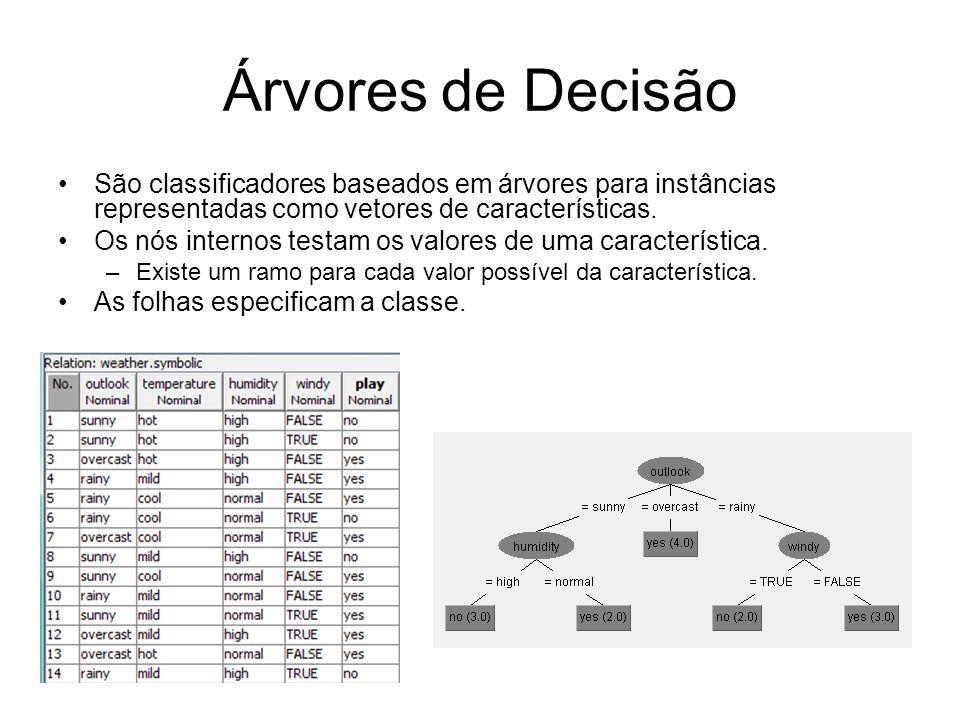Árvores de Decisão São classificadores baseados em árvores para instâncias representadas como vetores de características. Os nós internos testam os va