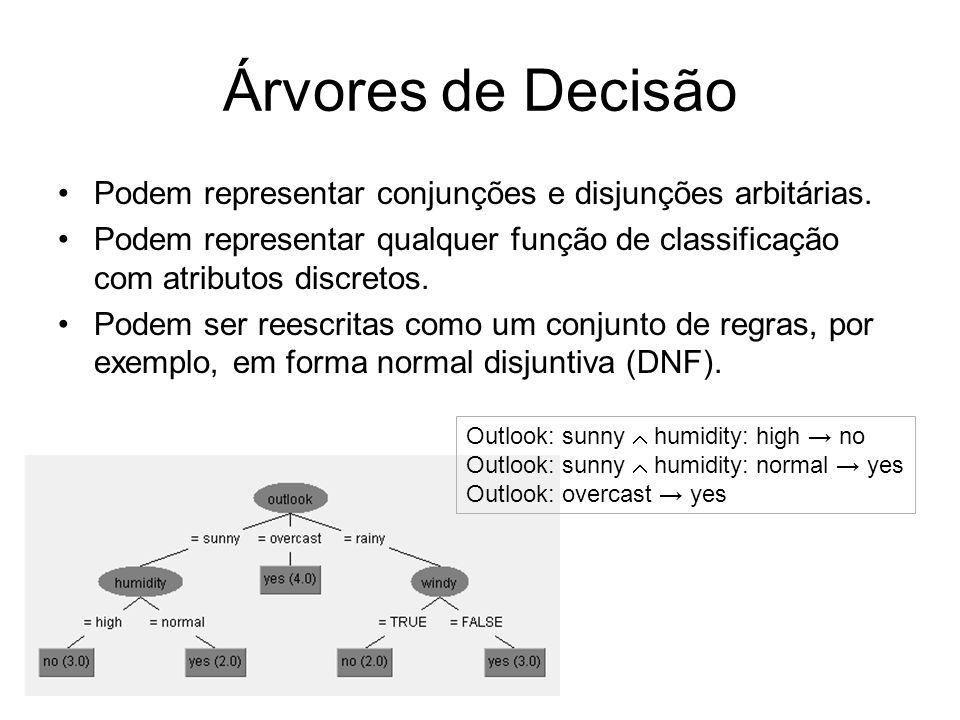 Árvores de Decisão Podem representar conjunções e disjunções arbitárias. Podem representar qualquer função de classificação com atributos discretos. P