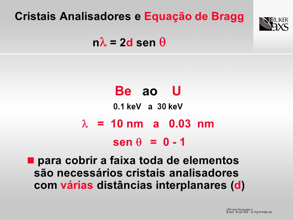 XRF-Intro-Portuguese.14 © 2003 Bruker AXS All Rights Reserved Cristais Analisadores e Equação de Bragg n = 2d sen Be ao U 0.1 keV a 30 keV = 10 nm a 0