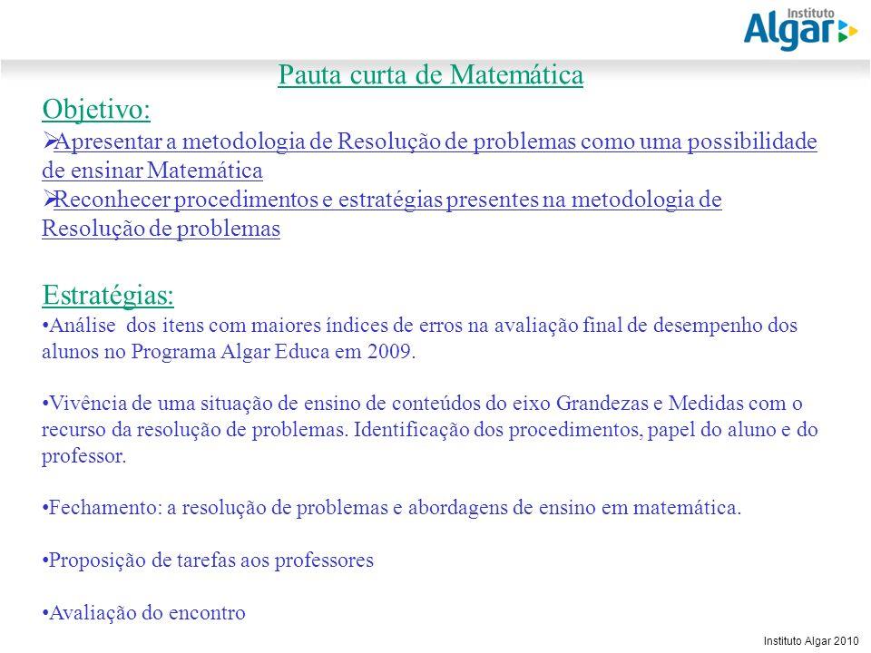 Reunião Gerencial, 20/05/2008 Instituto Algar 2010 Pauta curta de Matemática Objetivo: Apresentar a metodologia de Resolução de problemas como uma pos