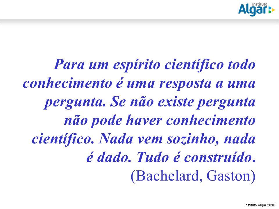 Reunião Gerencial, 20/05/2008 Instituto Algar 2010 Para um espírito científico todo conhecimento é uma resposta a uma pergunta. Se não existe pergunta