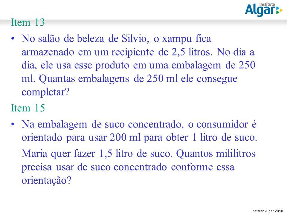Reunião Gerencial, 20/05/2008 Instituto Algar 2010 Item 13 No salão de beleza de Silvio, o xampu fica armazenado em um recipiente de 2,5 litros. No di