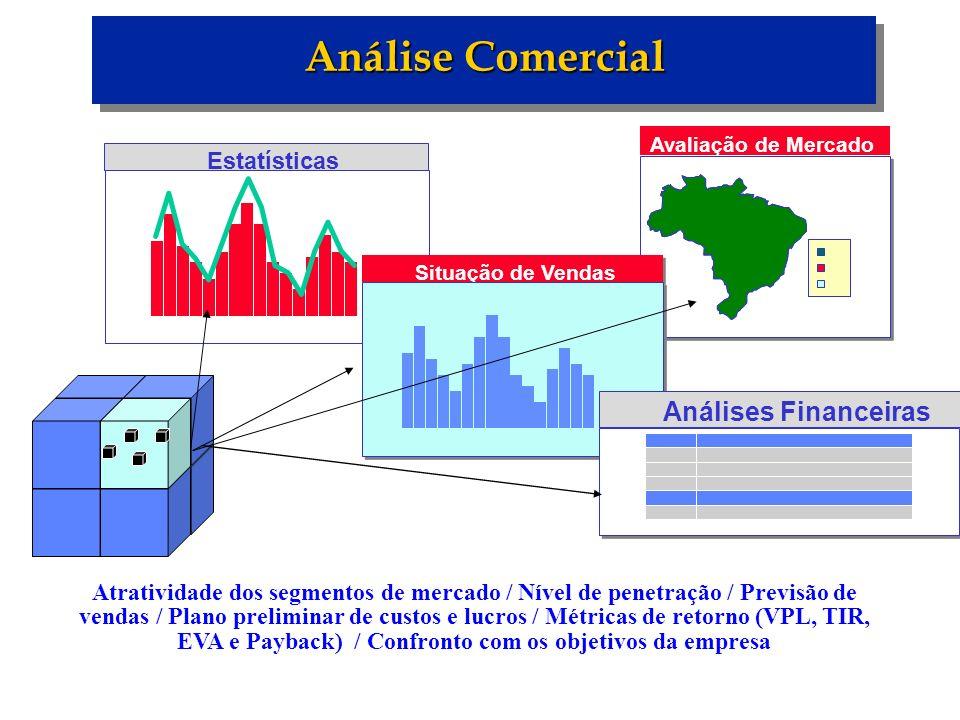 Análise Comercial Estatísticas Avaliação de Mercado Situação de Vendas Análises Financeiras Atratividade dos segmentos de mercado / Nível de penetraçã