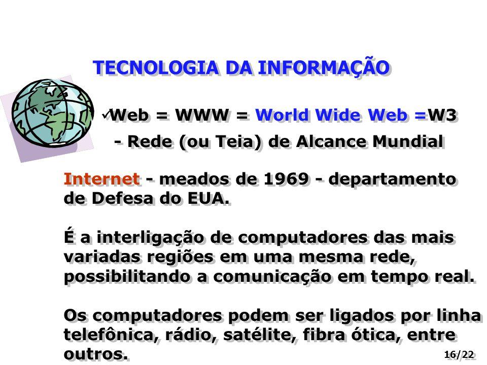 TECNOLOGIA DA INFORMAÇÃO 16/22 Web = WWW = World Wide Web =W3 - Rede (ou Teia) de Alcance Mundial Internet - meados de 1969 - departamento de Defesa d