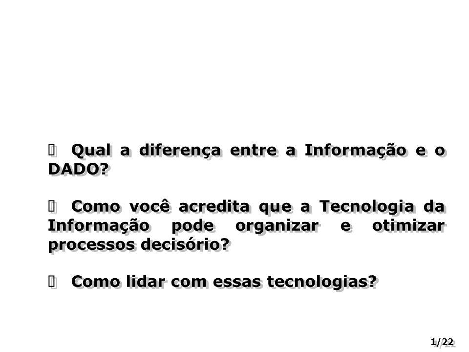 Qual a diferença entre a Informação e o DADO? Como você acredita que a Tecnologia da Informação pode organizar e otimizar processos decisório? Como li