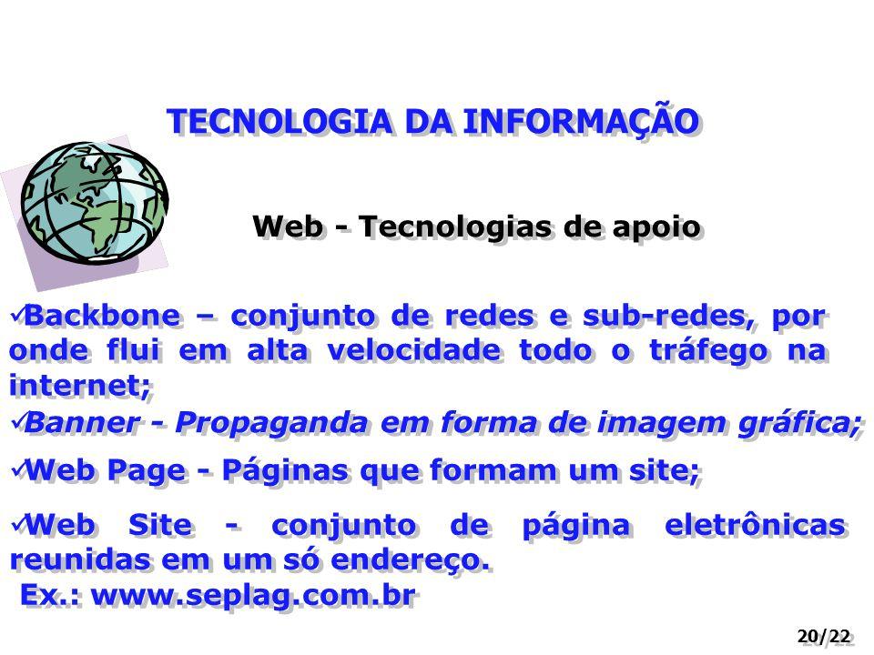 TECNOLOGIA DA INFORMAÇÃO 20/22 Web - Tecnologias de apoio Backbone – conjunto de redes e sub-redes, por onde flui em alta velocidade todo o tráfego na