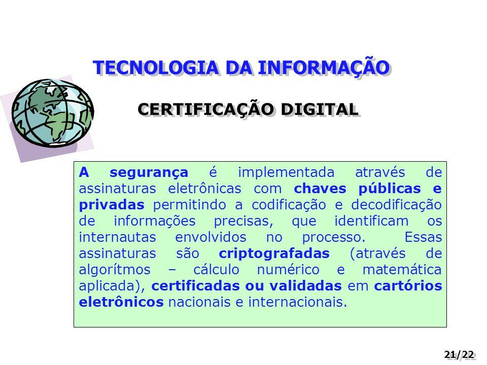 TECNOLOGIA DA INFORMAÇÃO 21/22 CERTIFICAÇÃO DIGITAL A segurança é implementada através de assinaturas eletrônicas com chaves públicas e privadas permi