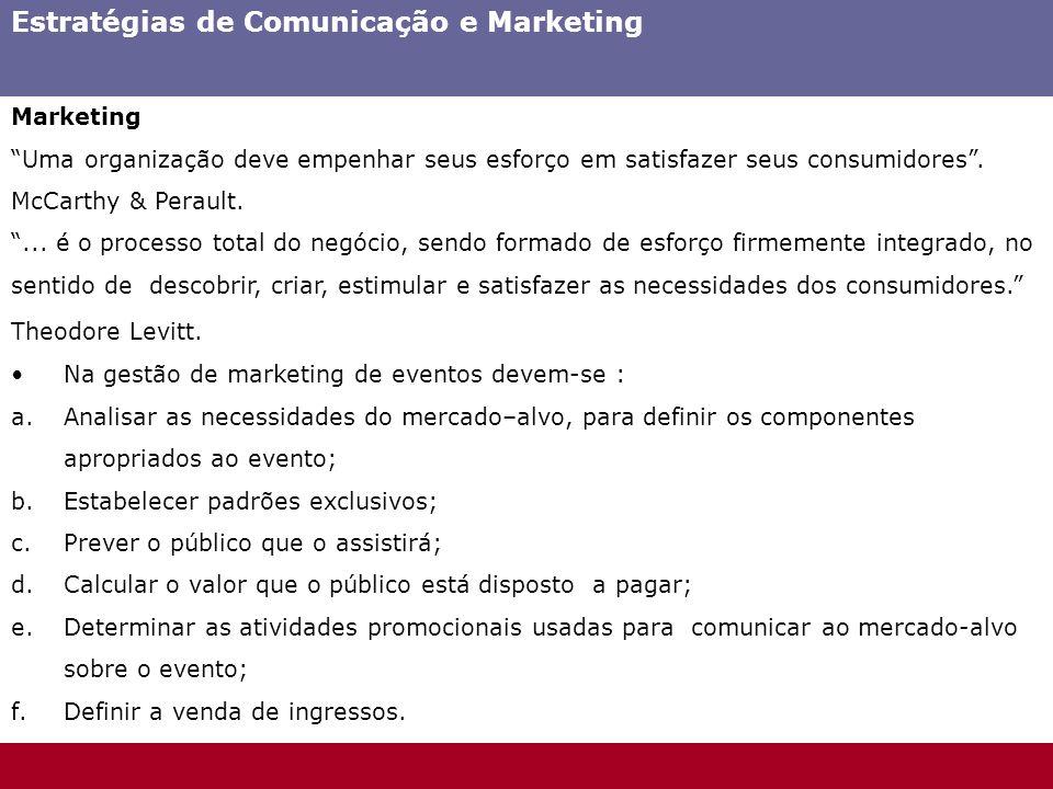 Estratégias de Comunicação e Marketing Marketing Uma organização deve empenhar seus esforço em satisfazer seus consumidores. McCarthy & Perault.... é
