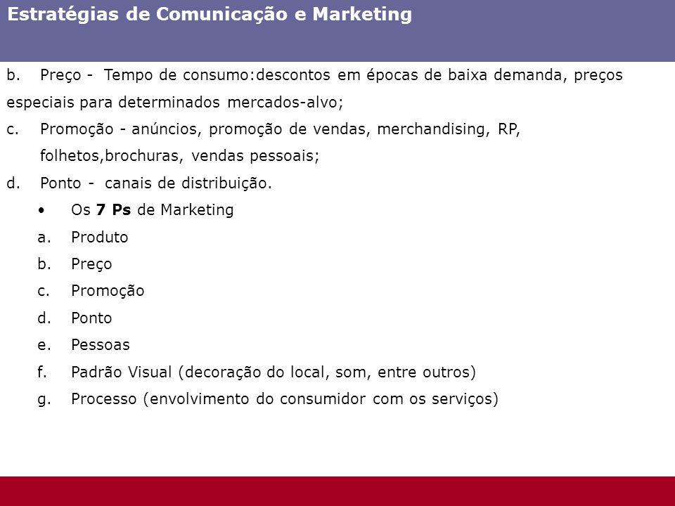 b.Preço - Tempo de consumo:descontos em épocas de baixa demanda, preços especiais para determinados mercados-alvo; c.Promoção - anúncios, promoção de