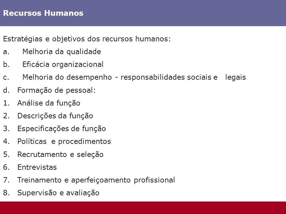 Recursos Humanos Estratégias e objetivos dos recursos humanos: a. Melhoria da qualidade b. Eficácia organizacional c. Melhoria do desempenho - respons