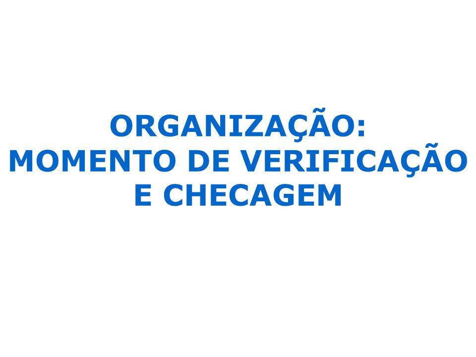 ORGANIZAÇÃO: MOMENTO DE VERIFICAÇÃO E CHECAGEM
