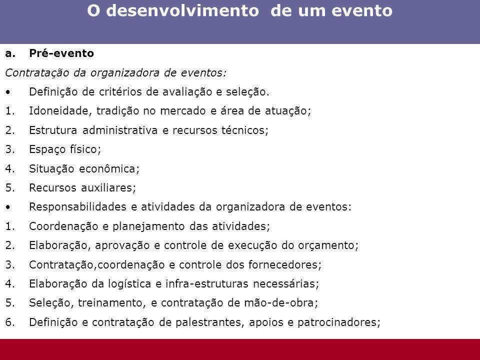 O desenvolvimento de um evento a.Pré-evento Contratação da organizadora de eventos: Definição de critérios de avaliação e seleção. 1.Idoneidade, tradi