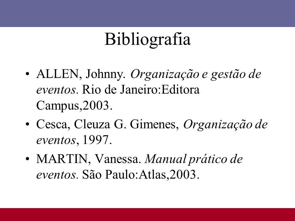 Bibliografia ALLEN, Johnny. Organização e gestão de eventos. Rio de Janeiro:Editora Campus,2003. Cesca, Cleuza G. Gimenes, Organização de eventos, 199