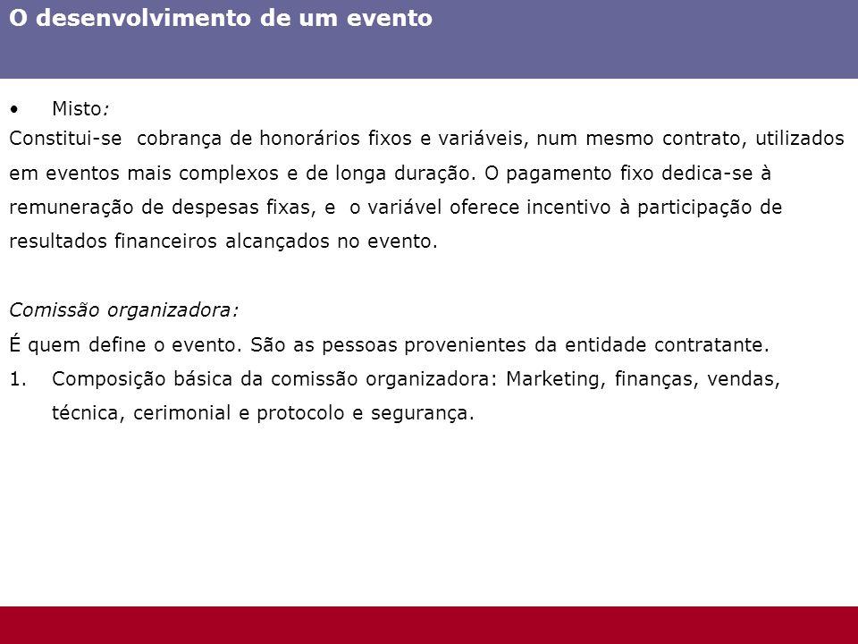 O desenvolvimento de um evento Misto: Constitui-se cobrança de honorários fixos e variáveis, num mesmo contrato, utilizados em eventos mais complexos