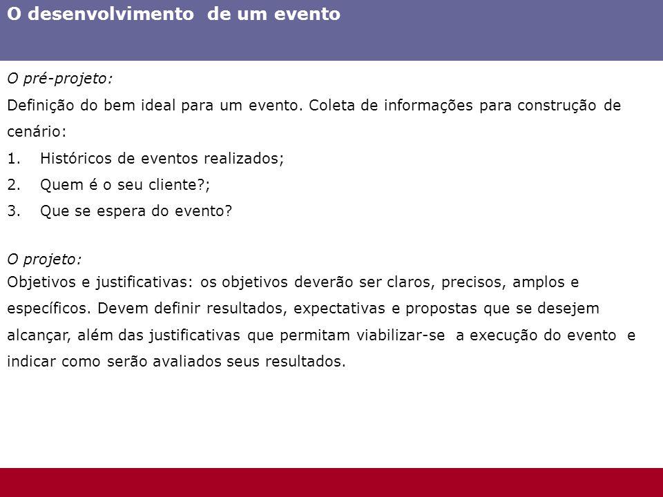 O desenvolvimento de um evento O pré-projeto: Definição do bem ideal para um evento. Coleta de informações para construção de cenário: 1.Históricos de