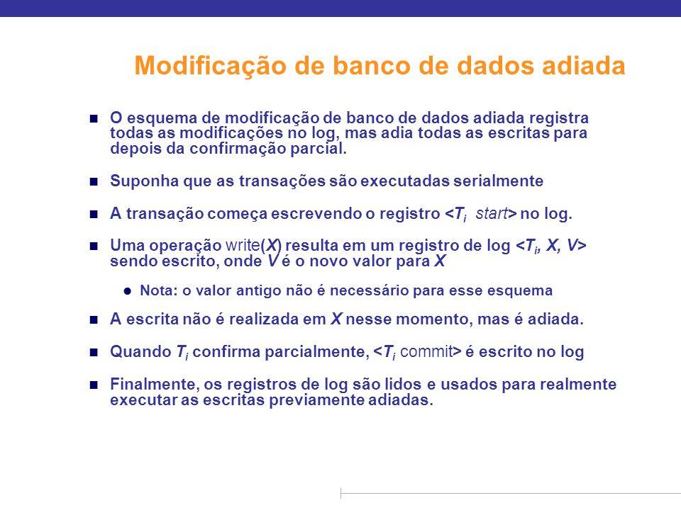 Modificação de banco de dados adiada (cont.) n Durante a recuperação após uma falha, uma transação precisa ser refeita se e somente se tanto quanto existirem no log.