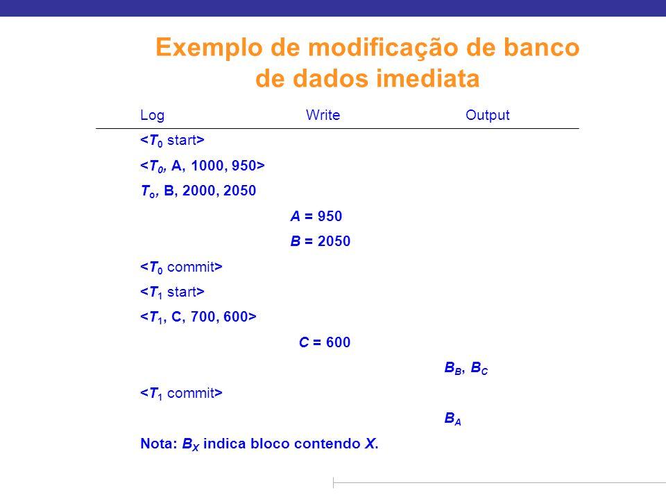 Modificação de banco de dados imediata (cont.) n O procedimento de recuperação possui duas operações em vez de uma: l undo(T i ) restaura o valor de todos os itens de dados atualizados por T i aos seus valores antigos, indo para trás a partir do último registro para T i l redo(T i ) define o valor de todos os itens de dados atualizados por T i aos novos valores, indo para frente a partir do primeiro registro para T i n As duas operações precisam ser idempotentes l Ou seja, mesmo que a operação seja executada várias vezes, o efeito é o mesmo que se fosse executada uma vez Necessário porque as operações podem ser novamente executadas durante a recuperação n Ao recuperar-se após a falha: l A transação T i precisa ser desfeita se o log tiver o registro, mas não contém o registro.