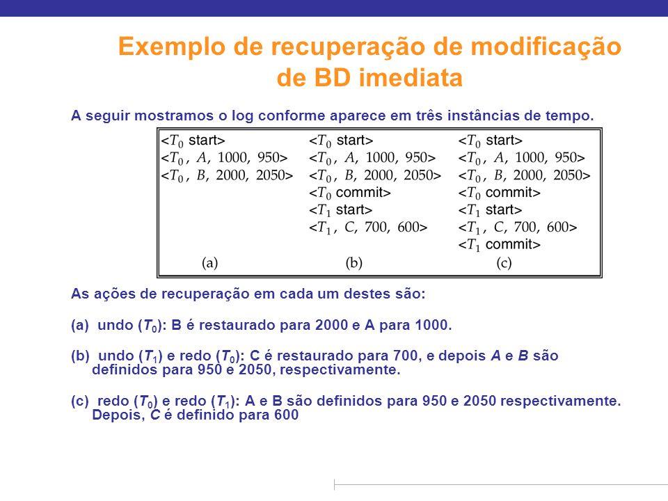 Exemplo de recuperação de modificação de BD imediata A seguir mostramos o log conforme aparece em três instâncias de tempo. As ações de recuperação em