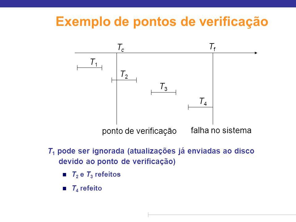 Exemplo de pontos de verificação T 1 pode ser ignorada (atualizações já enviadas ao disco devido ao ponto de verificação) n T 2 e T 3 refeitos n T 4 r