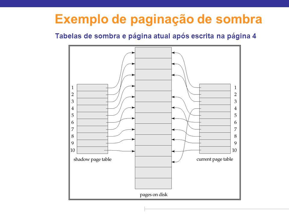 Exemplo de paginação de sombra Tabelas de sombra e página atual após escrita na página 4