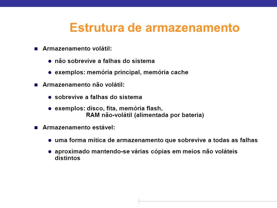 Estrutura de armazenamento n Armazenamento volátil: l não sobrevive a falhas do sistema l exemplos: memória principal, memória cache n Armazenamento n