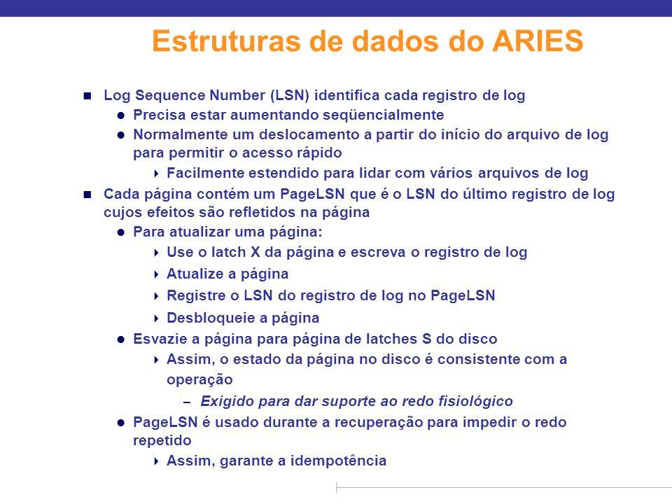 Estruturas de dados do ARIES (cont.) n Cada registro de log contém o LSN do registro de log anterior da mesma transação l LSN no registro de log pode ser implícito n O registro de log somente de leitura especial, chamado registro de log de compensação (CLR), usado para registrar ações tomadas durante a recuperação que nunca precisam ser desfeitas l Também tem o papel de abortar a operação de registros de log usados no algoritmo de recuperação avançado l Tem um campo UndoNextLSN para anotar próximo (mais antigo) registro a ser desfeito Registros no intervalo já teriam sido desfeitos Exigido para evitar undo repetido de ações já desfeitas LSN TransId PrevLSN RedoInfo UndoInfo LSN TransID UndoNextLSN RedoInfo