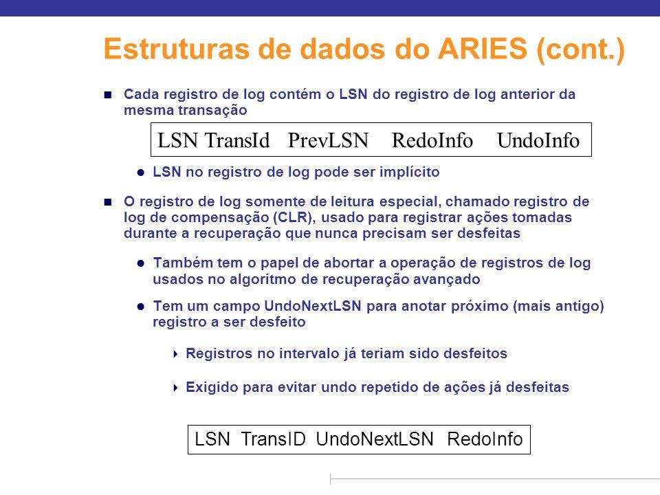 Estruturas de dados do ARIES (cont.) n Cada registro de log contém o LSN do registro de log anterior da mesma transação l LSN no registro de log pode