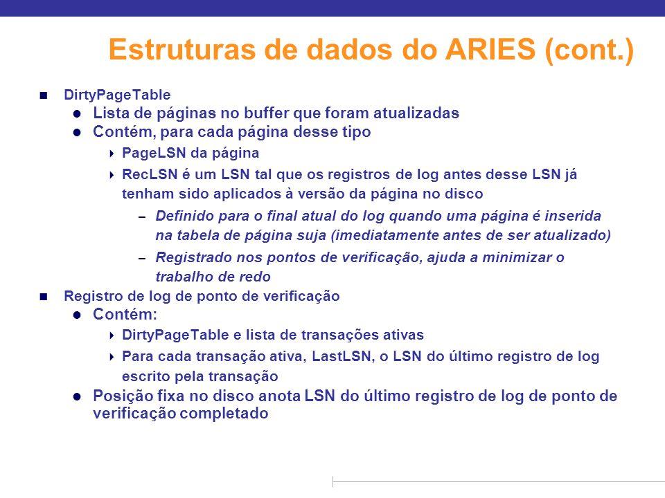Estruturas de dados do ARIES (cont.) n DirtyPageTable l Lista de páginas no buffer que foram atualizadas l Contém, para cada página desse tipo PageLSN