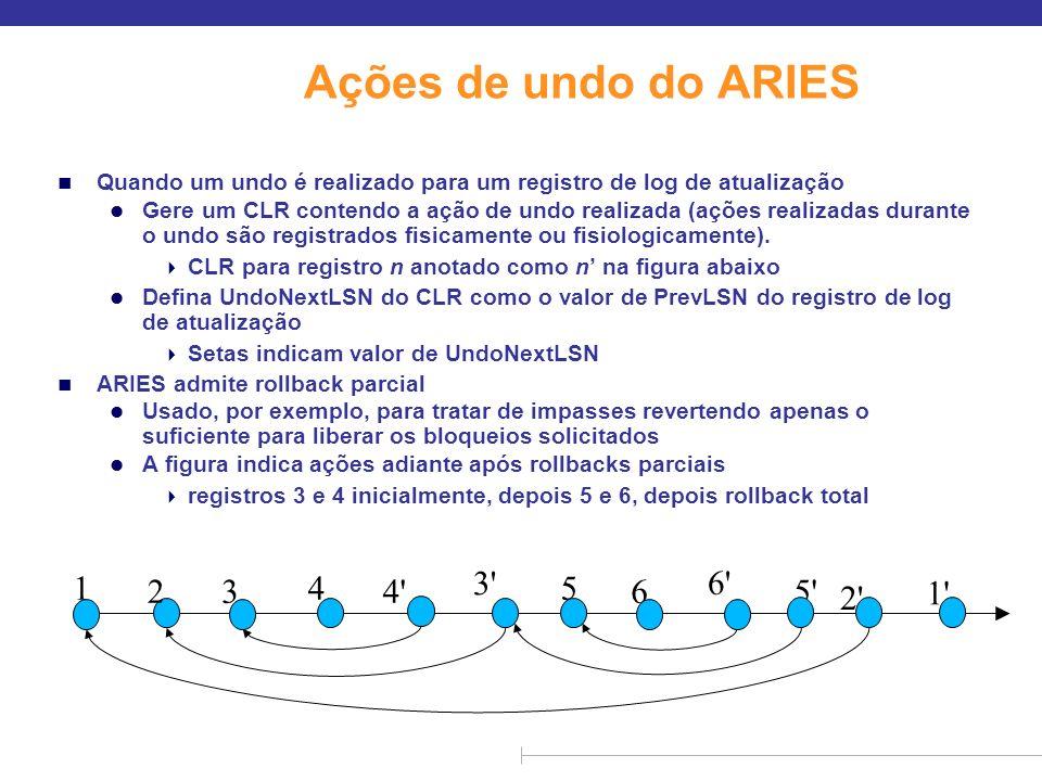 Ações de undo do ARIES n Quando um undo é realizado para um registro de log de atualização l Gere um CLR contendo a ação de undo realizada (ações real