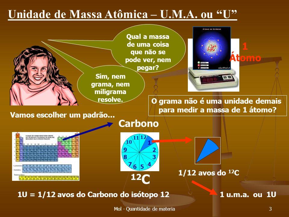 Mol - Quantidade de materia2 Unidade de massa (padrão) PADRÃO – modelo; o que se serve de índice de uma cultura; marco. Não tenho régua. Como faço par