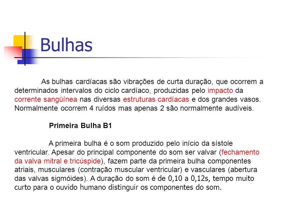 Bulhas As bulhas cardíacas são vibrações de curta duração, que ocorrem a determinados intervalos do ciclo cardíaco, produzidas pelo impacto da corrent