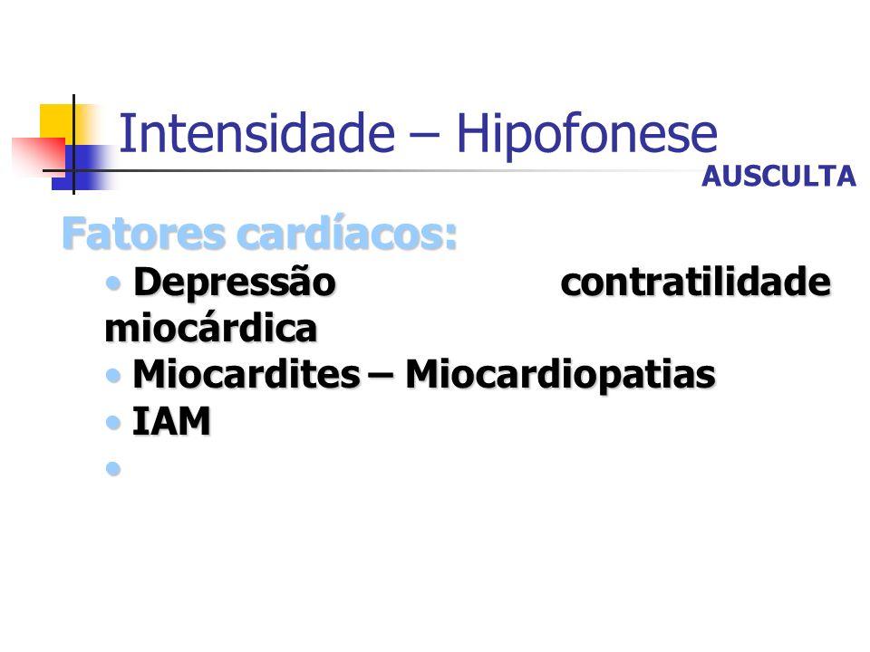 Intensidade – Hipofonese Fatores cardíacos: Depressão contratilidade miocárdica Depressão contratilidade miocárdica Miocardites – Miocardiopatias Mioc