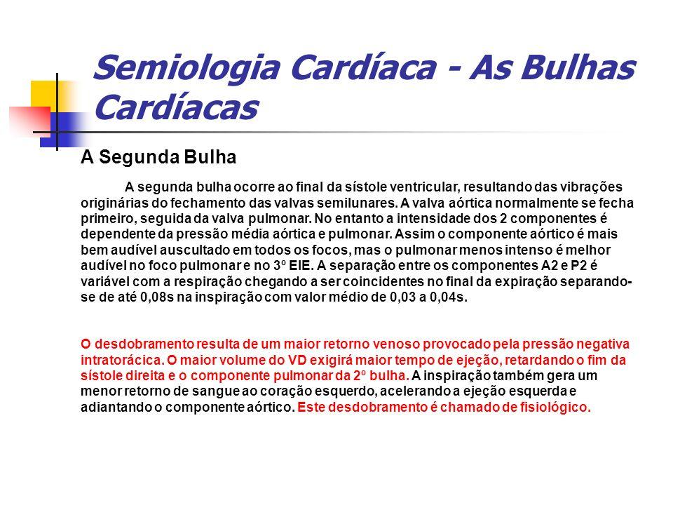 Semiologia Cardíaca - As Bulhas Cardíacas A Segunda Bulha A segunda bulha ocorre ao final da sístole ventricular, resultando das vibrações originárias