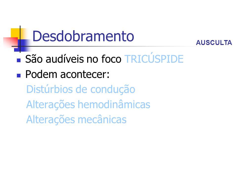 Desdobramento São audíveis no foco TRICÚSPIDE Podem acontecer: Distúrbios de condução Alterações hemodinâmicas Alterações mecânicas AUSCULTA