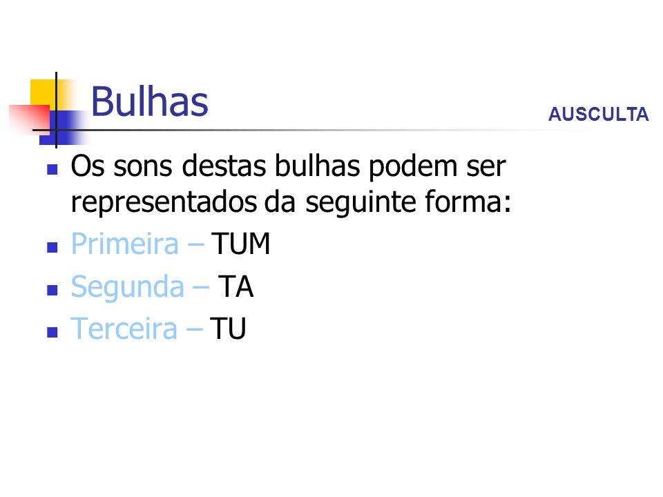 Bulhas Os sons destas bulhas podem ser representados da seguinte forma: Primeira – TUM Segunda – TA Terceira – TU AUSCULTA