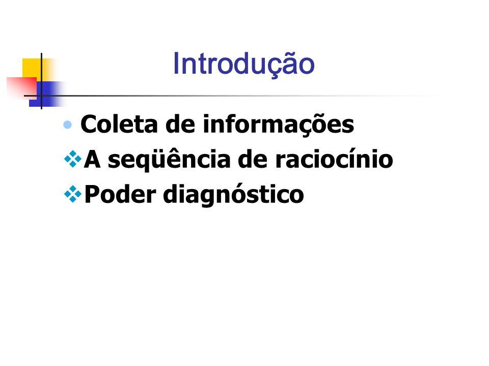 Introdução Coleta de informações A seqüência de raciocínio Poder diagnóstico