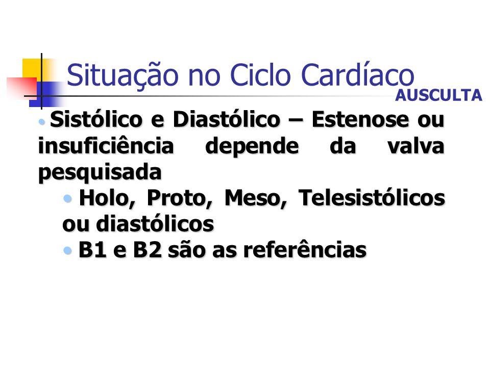 Situação no Ciclo Cardíaco Sistólico e Diastólico – Estenose ou insuficiência depende da valva pesquisada Sistólico e Diastólico – Estenose ou insufic