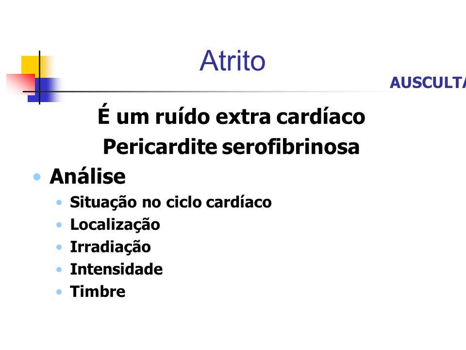 Atrito É um ruído extra cardíaco Pericardite serofibrinosa Análise Situação no ciclo cardíaco Localização Irradiação Intensidade Timbre AUSCULTA
