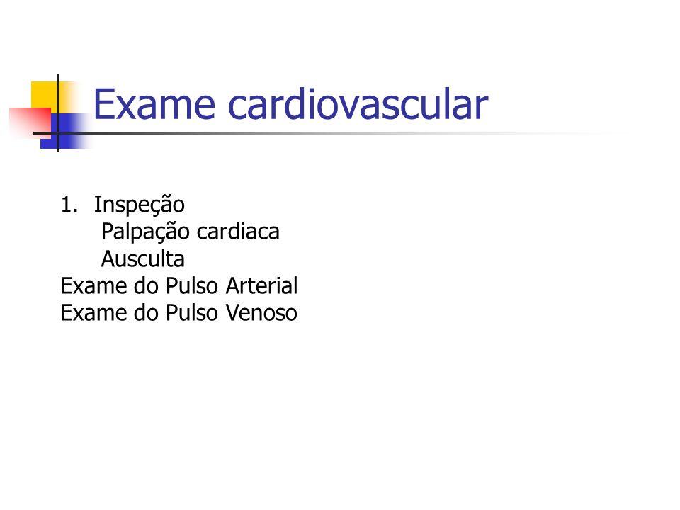 Exame cardiovascular 1.Inspeção Palpação cardiaca Ausculta Exame do Pulso Arterial Exame do Pulso Venoso