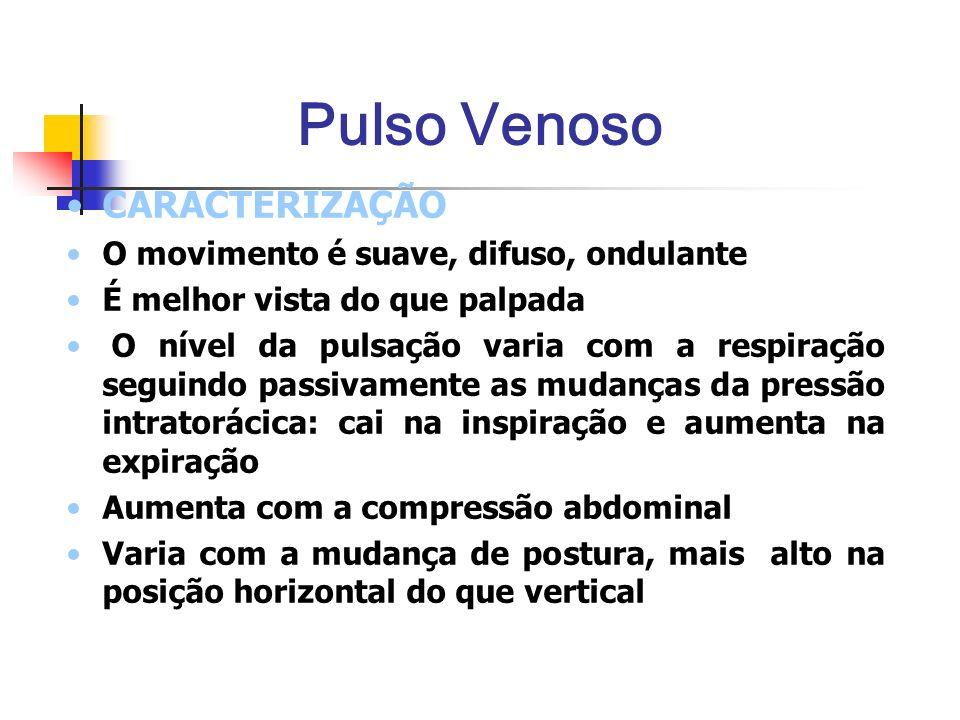 Pulso Venoso CARACTERIZAÇÃO O movimento é suave, difuso, ondulante É melhor vista do que palpada O nível da pulsação varia com a respiração seguindo p